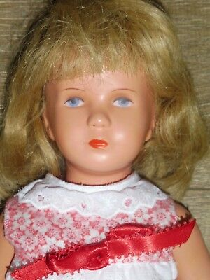 "KATHE KRUSE 1950s/60s 15""-16"" Doll-Human Hair Wig & Painted Face-T40-German"