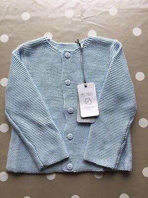 Mothercare Blue Knitted Cardigan Boy's 6-9 months Jumper Top Christening