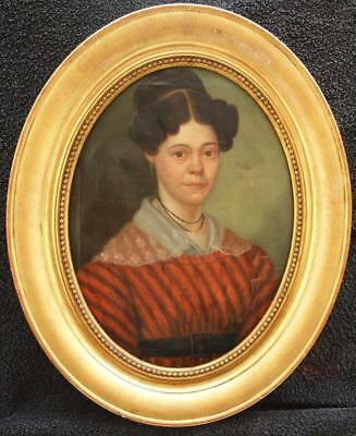 Fine Early 19th Century Portrait of a Young Lady Antique Oil Painting