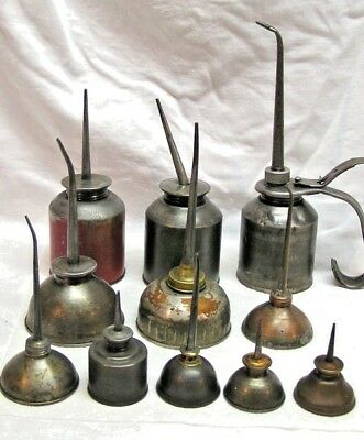 Vintage Lot Of 11 Thumb Pump Oil Oiler Cans *