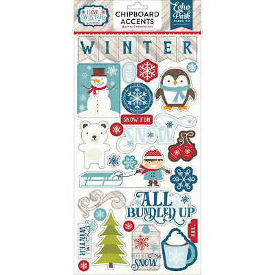 "I Love Winter Chipboard Accents 6""X13""  LW115022"