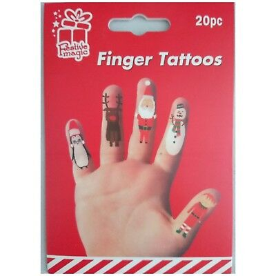 20 X Christmas Finger Tattoos temporary - fun stocking filler