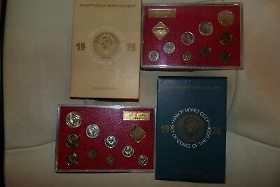 1974 and 1975 USSR Russia CCCP 2 x Coin sets Rouble to Kopeck Leningrad + Tokens