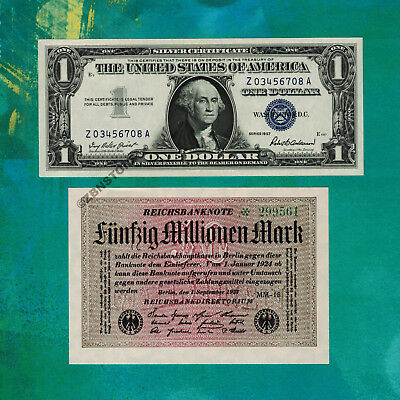 50 Million German Marks 1923 Banknote + 1$ Silver Certificate 1957 XF/Almost UNC