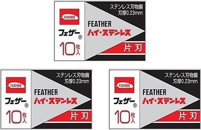 30 Feather FHS-10 Hi-Stainless Razor Blades (3 packs)