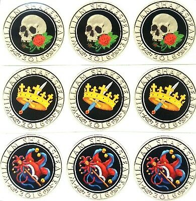£2 coin shakespeare coin new stickers 2016