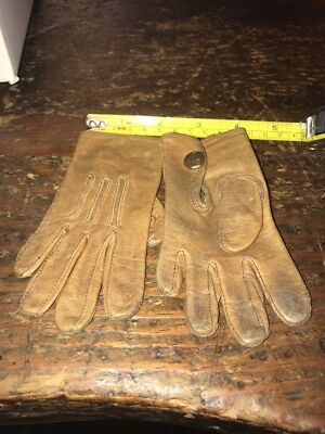 Antique Brown Leather Childs Gloves Button Marked Dan 4th