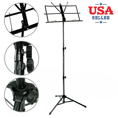 "20""-46"" Height Adjustable Durable Black Folding Tripod Sheet Music Stand"