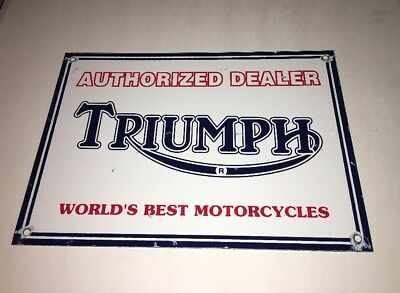 "Vintage Triumph Motorcycles Porcelain Metal Sign  14"" X10"" Words Best Bonneville"