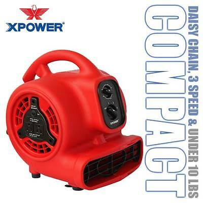 XPOWER P-200AT 600 CFM 3 Speed Mini Air Mover Dryer Floor Fan w/ Timer & Outlet