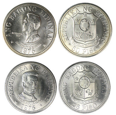 Philippines 25 -  50 Piso 2 Pieces - PCS, Coin Set, 1975, Mint, Presidents