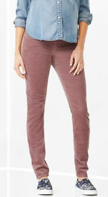 NEW GAP 1969 ULTIMATE PANEL ALWAYS SKINNY CORDS MATERNITY PANTS IN FIG, Size 4