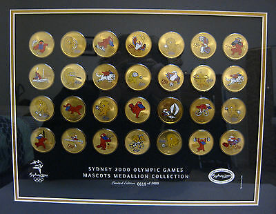 Sydney 2000 Olympic Games - MASCOTS MEDALLION COLLECTION Full Set Gold Coloured