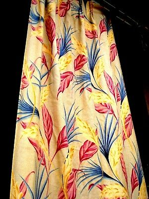 Vtg 40's 50's Tropical plants Drape hotel Curtain