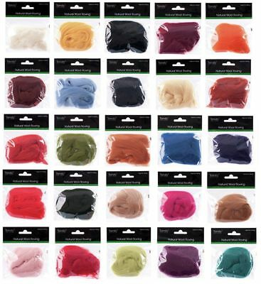 Trimits Natural 100% Wool Roving for Needle Felting 10g 26 colours