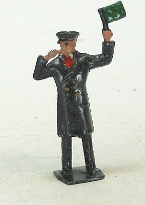 Britains scale vintage lead toy train figures Johillco Brakeman w/flag, whistle