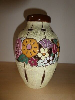 Czech Art Deco Amphora VASE ~ Floral Raised Enamel