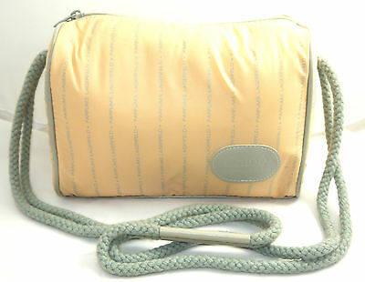 Vtg Chloe Lagerfeld Perfume Cosmetic Peach & Gray Travel Pouch Bag