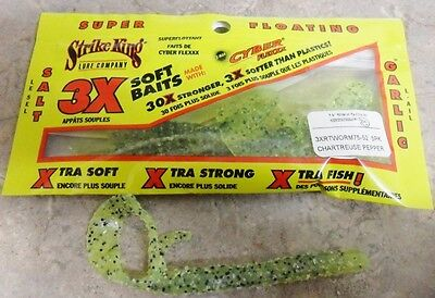 """Strike King Ribbon Tail Worms – 7.5""""- Chartreuse Pepper, Soft Plastic Lure"""