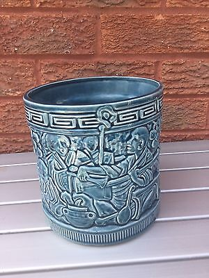 Bretby Vintage Planter Cache Pot ~ Turquoise with Raised Chinoiserie Pattern