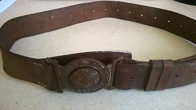 Old Boys Brigade Leather And Brass Belt
