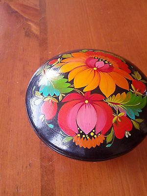 Vintage Hand Painted Lidded  Bowl Jewelry Ussr Laquered Paper Mache Folk Art