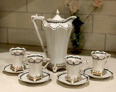 RS PRUSSIA 10 PC.  HOT CHOCOLATE POT & 4 CUPS & SAUCERS Rare Find!