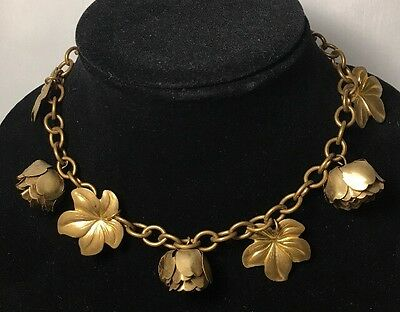 Antique Peony Rose Leaf Charm Choker Necklace Brass Gold Tone