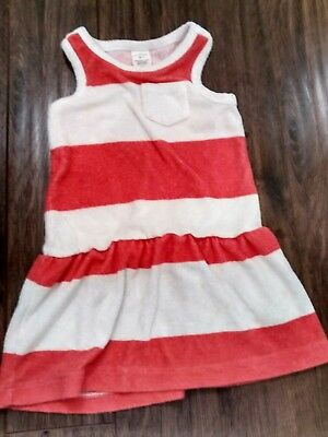 J. Crew 'Crewcuts' Toddler Girl Terry swimsuit coverup, red/white stripe, size 2
