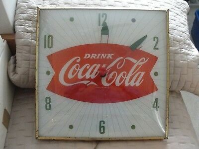VINATAGE 1950'S LIGHTED COCA COLA FISH TAIL CLOCK Made by the PAM.