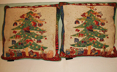 """Set of 2 Laurel Burch Signature Christmas Tree Tapestry Pillows 17"""" by 17"""""""