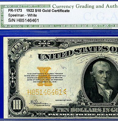 "FR-1173 1922 $10 Gold Certificate"""" Superb-Gem-Uncirculated """" # H85146461"