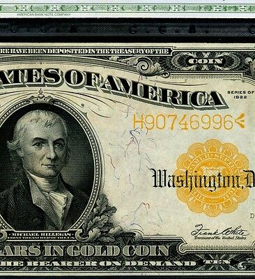 "FR-1173 1922 $10 Gold Certificate """" Superb-Gem Plus"""" # H90746996"