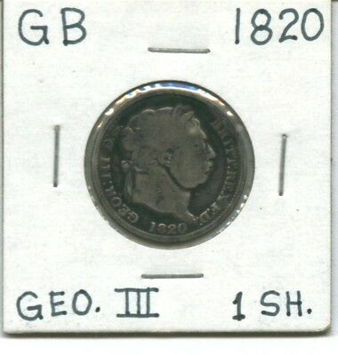 Great Britain:  King George Iii:  1820 Silver Shilling (12 Pence): Never Cleaned