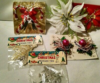 Vintage Christmas Package Tie On Ornaments Gift Wrap Tie On Crafting Epemera Lot