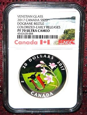 2017 Canada $20 Murano Glass Dogbane Beetle Silver Coin Ngc Pf 70 Uc Er (Pop=7)