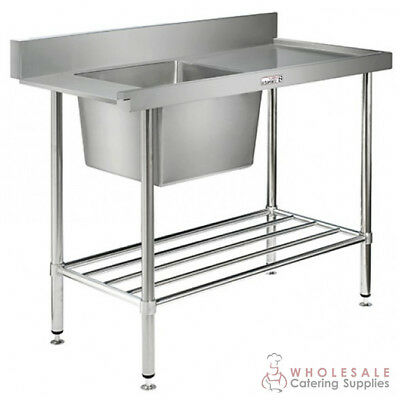 Single Sink Bench w Dishwasher Inlet 1650x600x900mm Right Side Simply Stainless