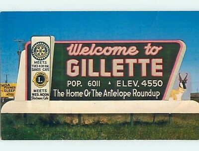 Pre-1980 GREETINGS FROM POSTCARD Gillette Wyoming WY ho5628