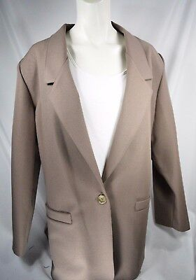 Alfred Dunner Women's Tan Business Blazer Size 16P Shoulder Padded Button Jacket