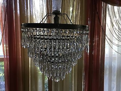 Antique Crystal 5 Tiered Chandelier Wedding Cake Style. Very Old Excellent Condi