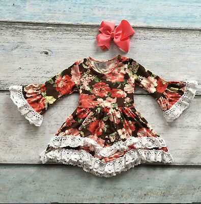 Chocolate Thanksgiving Floral Print Dress Lace Trim Sz 12/18 MO 2T 3T 4 5  6/7