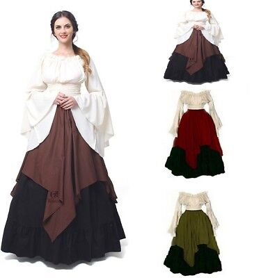 Renaissance Dress Women Medieval Boho Peasant Wench Victorian Halloween Costume
