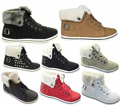 7136fbc5046 Womens Fur Lined Trainer Ladies Studed Ankle Boots High Top Girls Pumps  Shoes