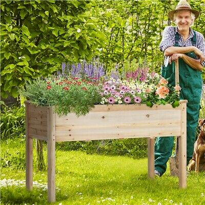 Cedar Raised Elevated Garden Bed Planter Box Kit Vegetables Corner Wooden 3 Type