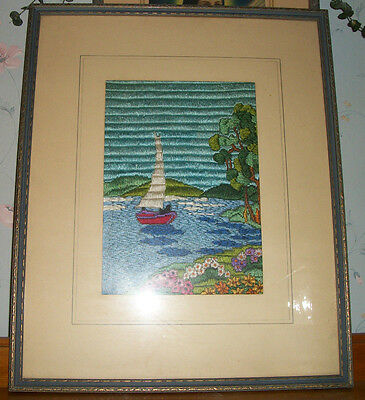 Antique Long Stitch Embroidery Needlepoint Framed Picture  Sailboat