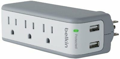 Belkin 3-Outlet SurgePlus Mini Travel Swivel Charger Surge Protector with Dua...