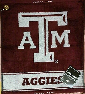 NCAA TEXAS A&M AGGIES WOVEN GOLF TOWEL grommet & clip