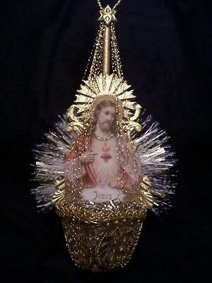 Antique Look Christmas Ornament,JESUS, Dresden,Wire, Scrap,Tinsel,Handmade