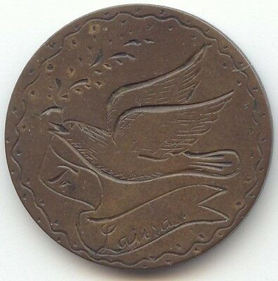 Canada, Pictorial Love Token on Victoria Large Cent,Flying Bird, Larisa Ribbon