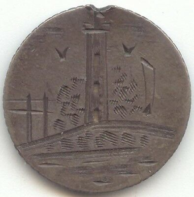2 Sided Dime Size Pictorial Love Token, Lighthouse, Birds, Initials MD or DM